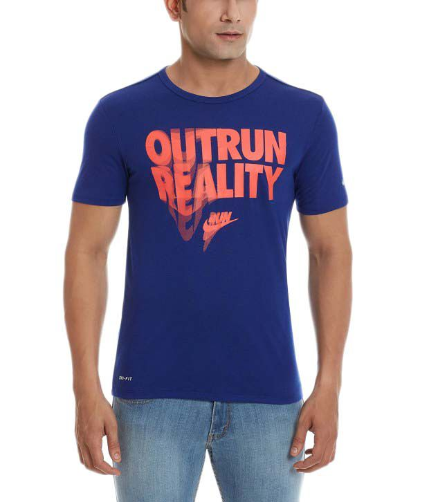 Nike Blue Round Neck Polyester T-Shirt for Men