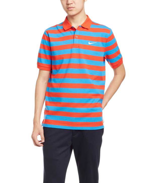 Nike Blue and Red Polo Shirt for Men