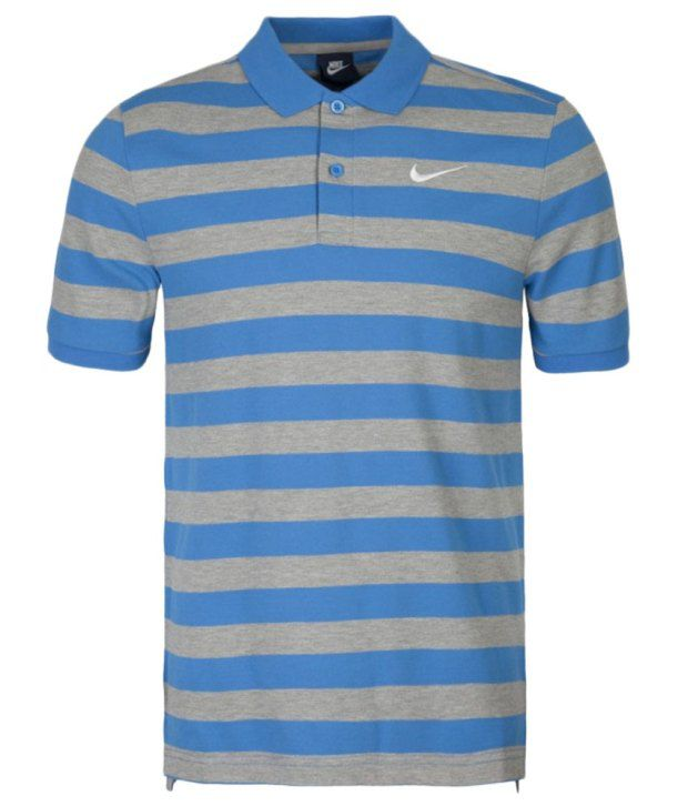 Nike Grey and Blue Matchup Polo Pq-Bld Stpolo Shirt for Men