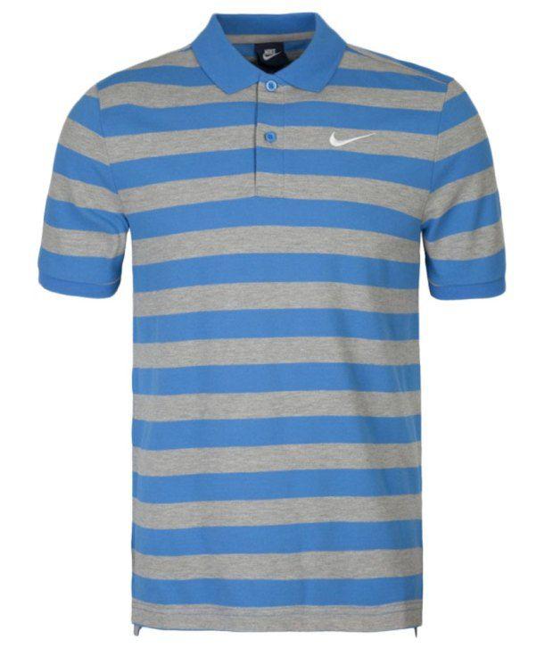 Nike Grey and Blue Matchup Polo Pq-Bld Stpolo Shirt for Men