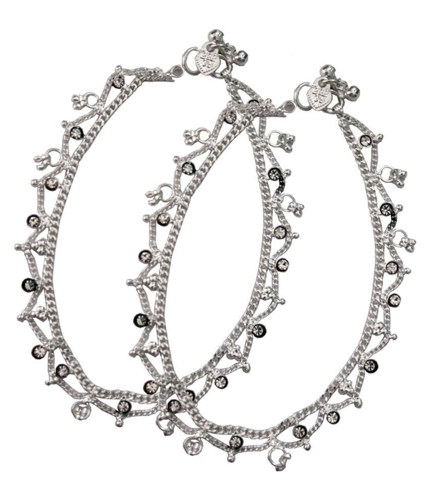 Pihu Silver Pair of Anklets