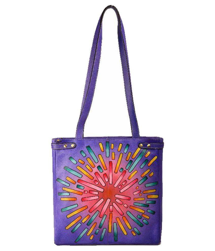 Adi Exports Purple Pure Leather Tote Bag