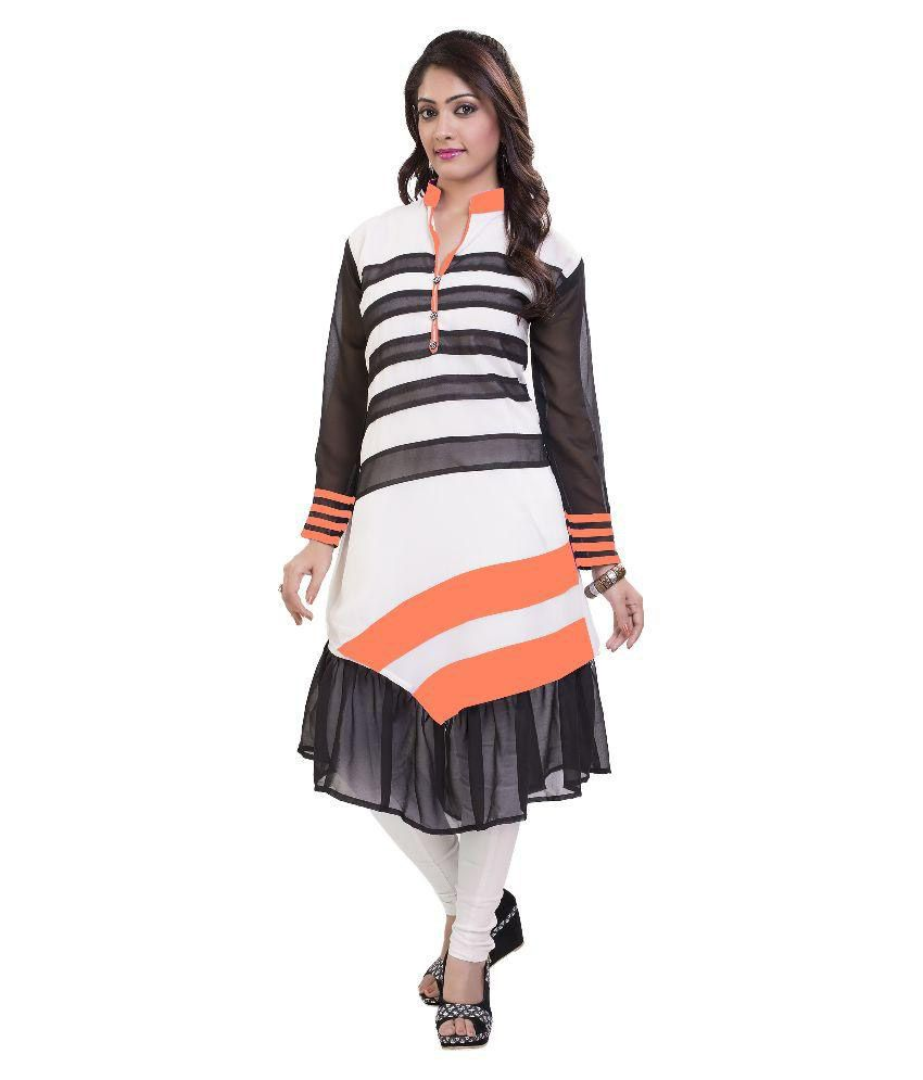 Prabal Fine Chem India Multicoloured Georgette Anarkali Kurti