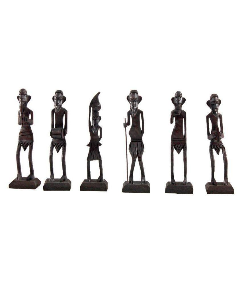 Little Jaipur Black Wooden Antique African Zulu Tribal Men Handicraft Statue - Set of 6