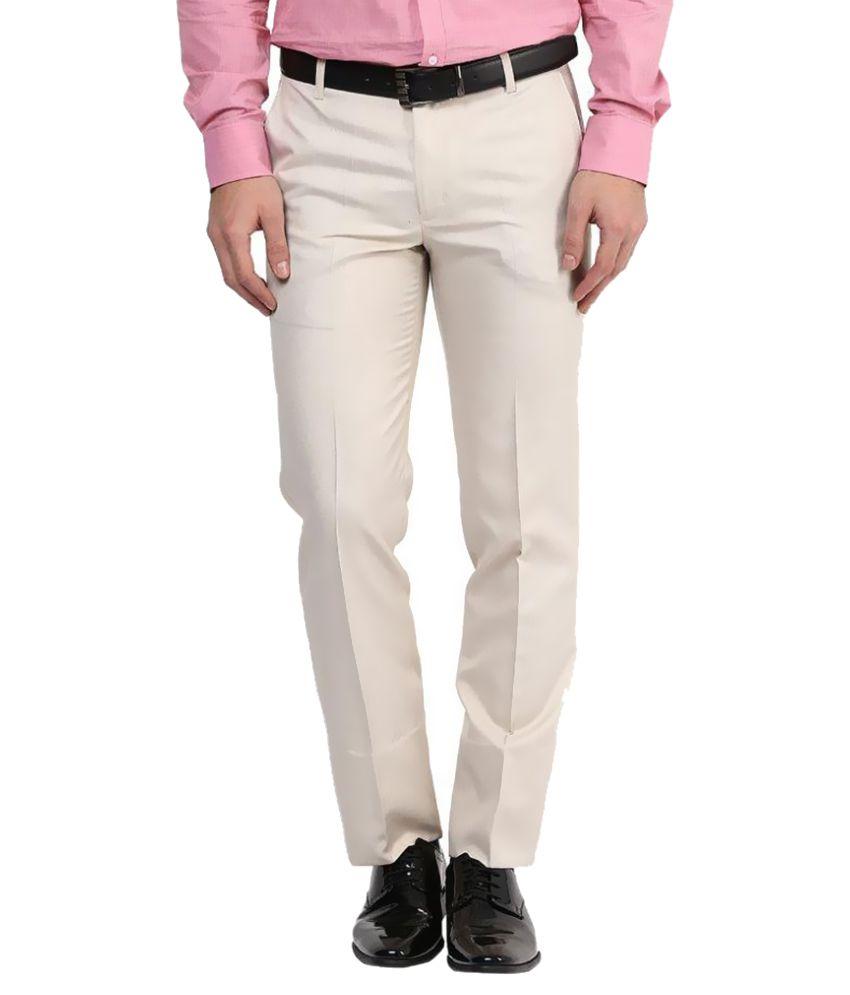 BUKKL Beige Regular Pleated Trouser
