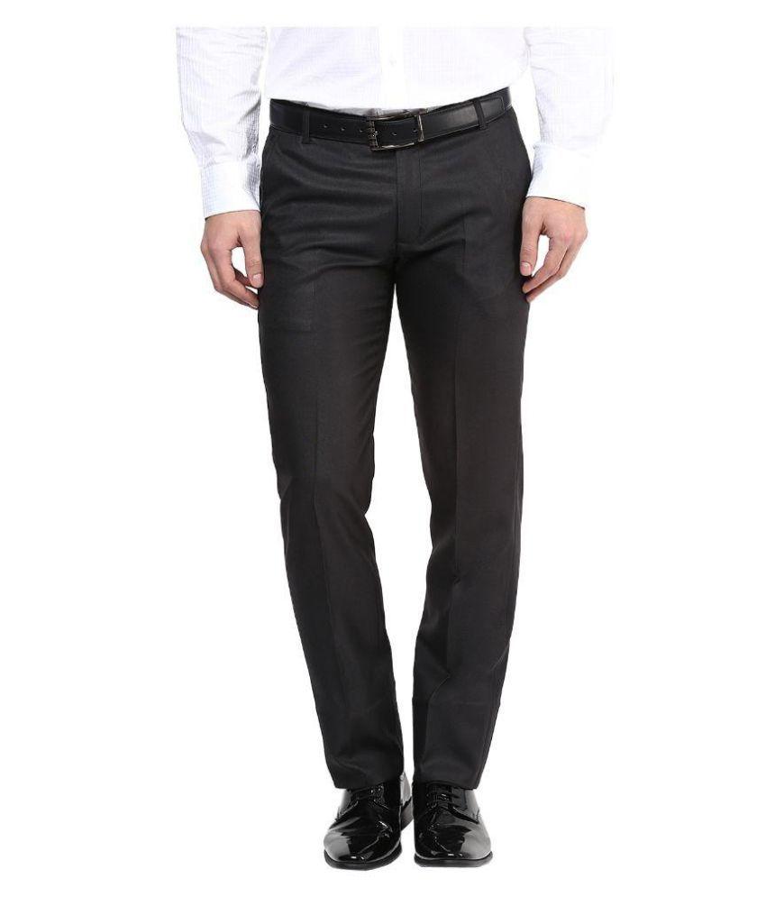 BUKKL Black Slim -Fit Pleated Trousers