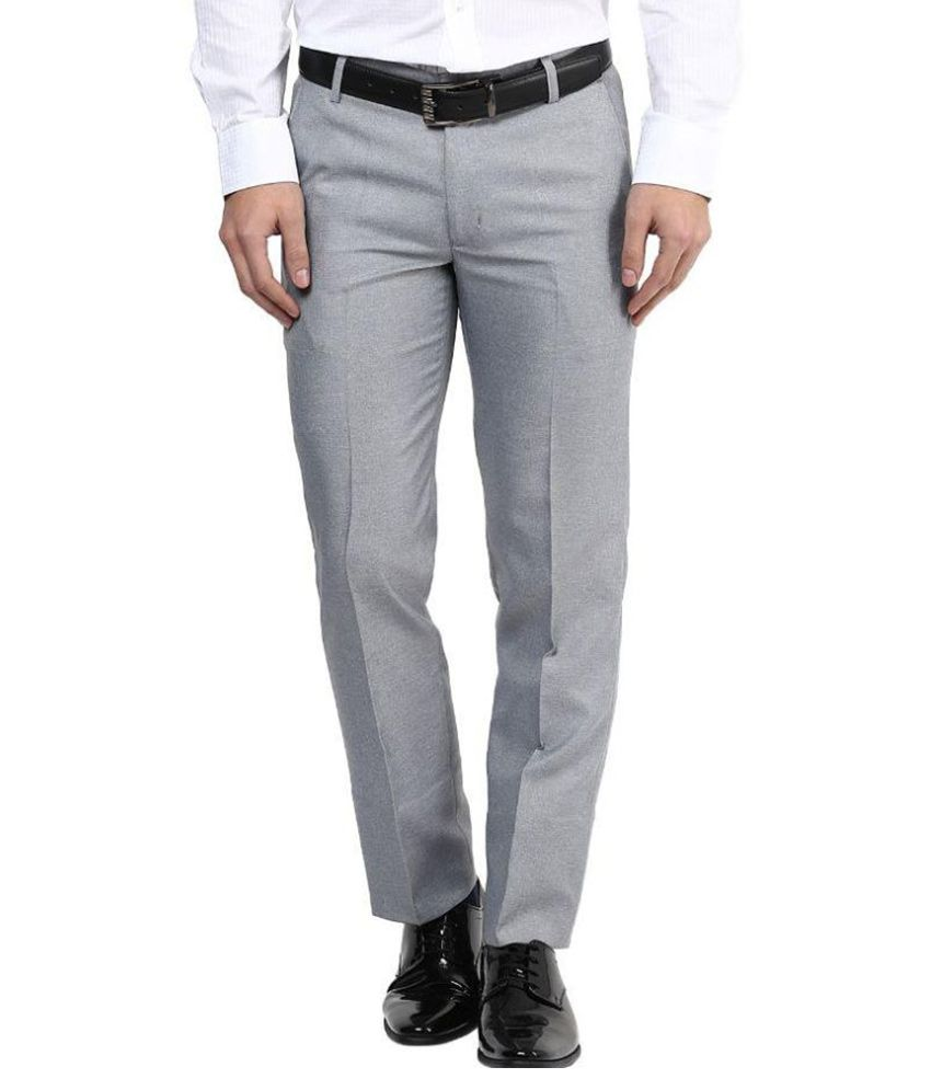 Bukkl Grey Regular Fit Pleated Trousers