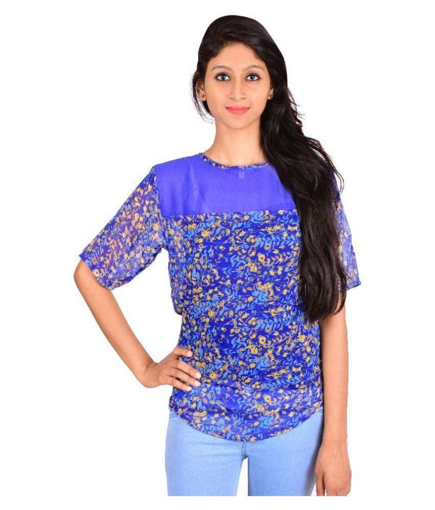 Rp boutique blue georgette crop tops buy rp boutique for Boutique tops