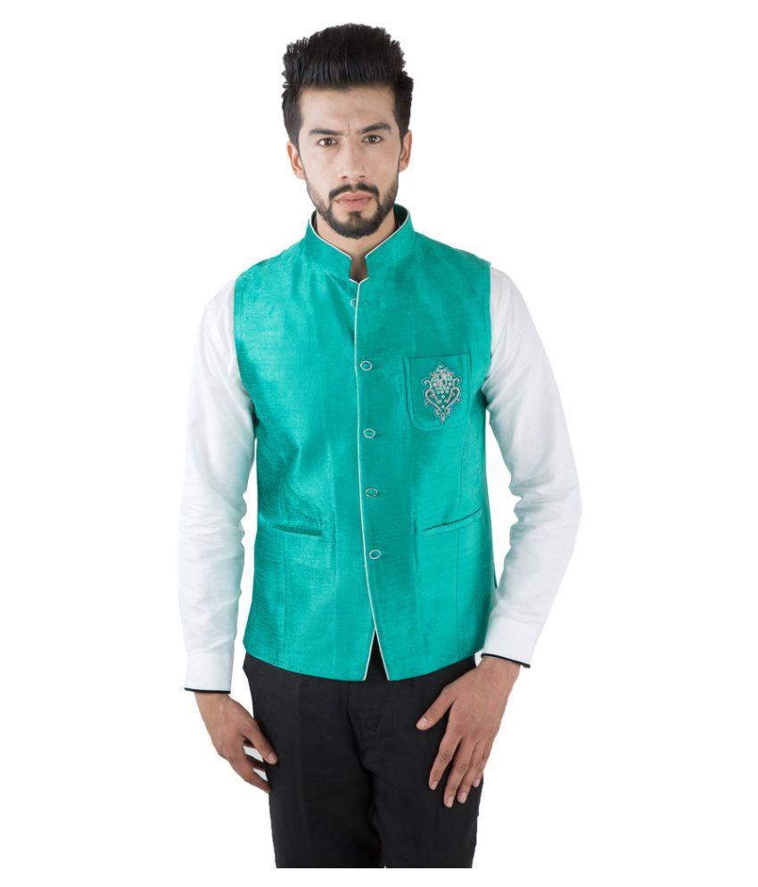 Jahanpanah Green Wedding Waistcoats