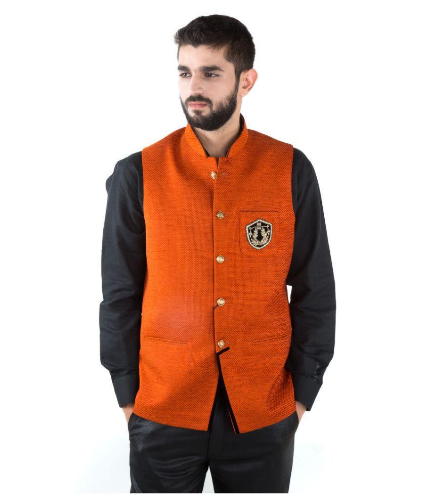 Jahanpanah Orange Festive Waistcoats