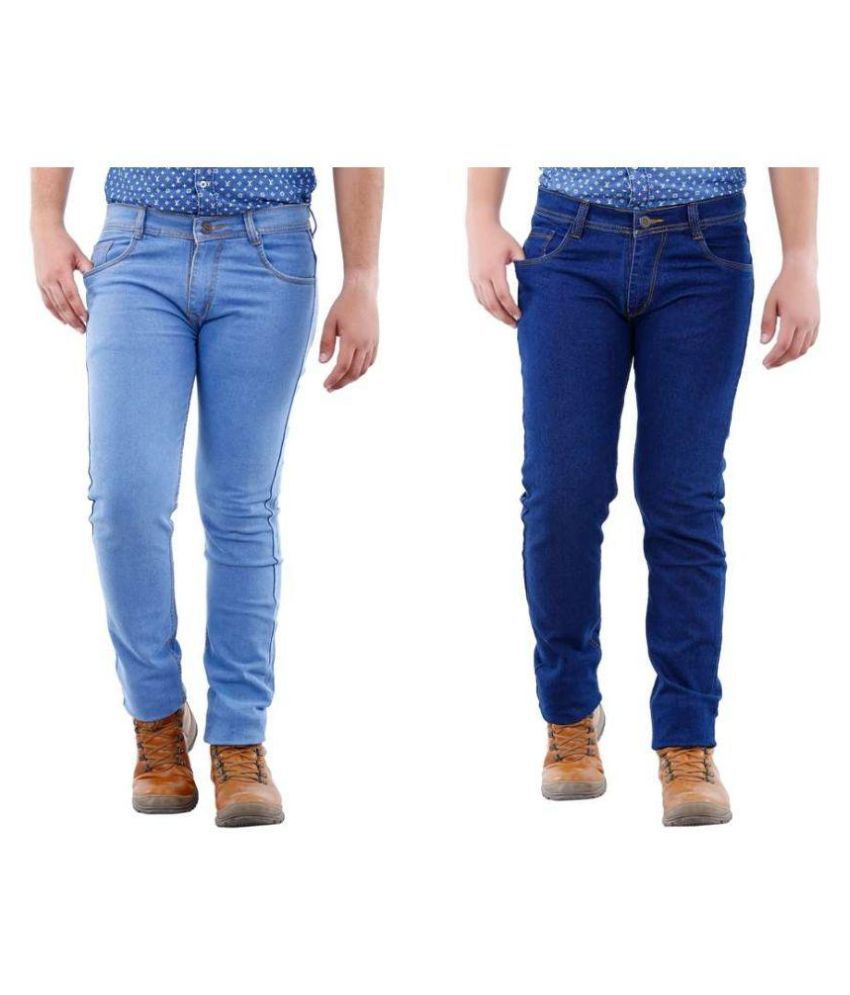 Fashion N Style Blue Slim Fit Solid Jeans Pack of 2