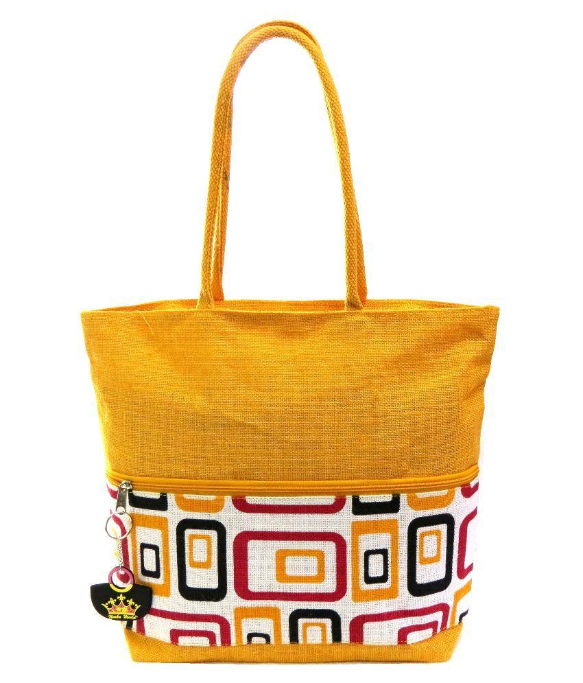 Neska Moda Yellow Shopping Bags