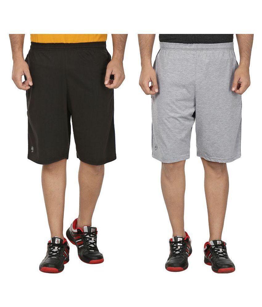 SST Multi Shorts Sets Of 2 (Black+Lightgrey)