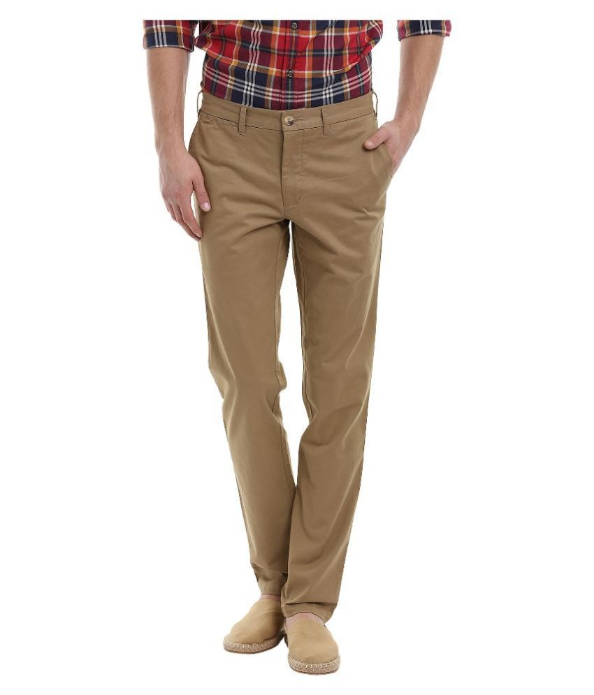 Zobello Beige Slim Fit Chinos