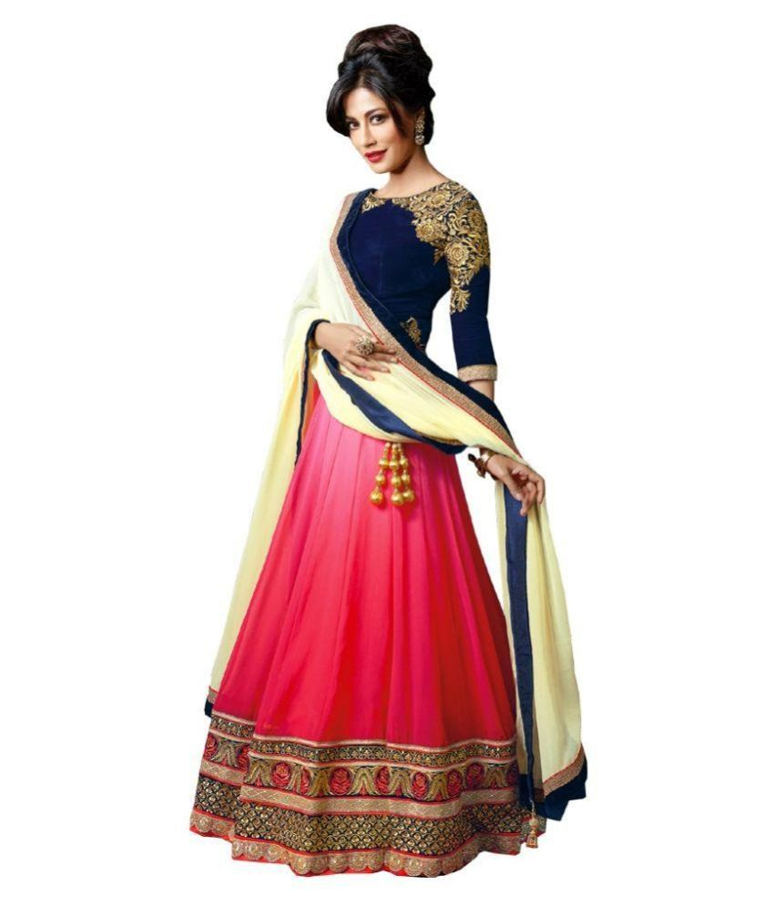 Krishna Creation Pink Net Semi Stitched Lehenga By Snapdeal @ Rs.525