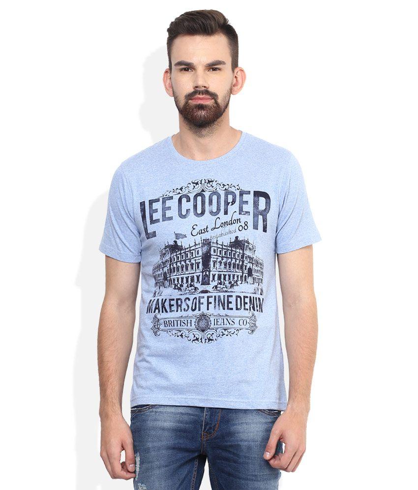 Lee Cooper Blue Printed Regular Fit T-Shirt