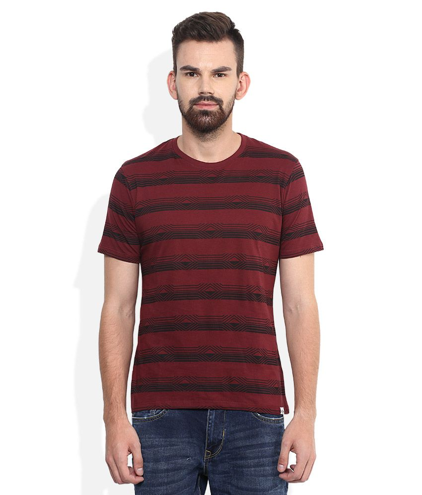 Lee Cooper Maroon Striped Regular Fit T-Shirt