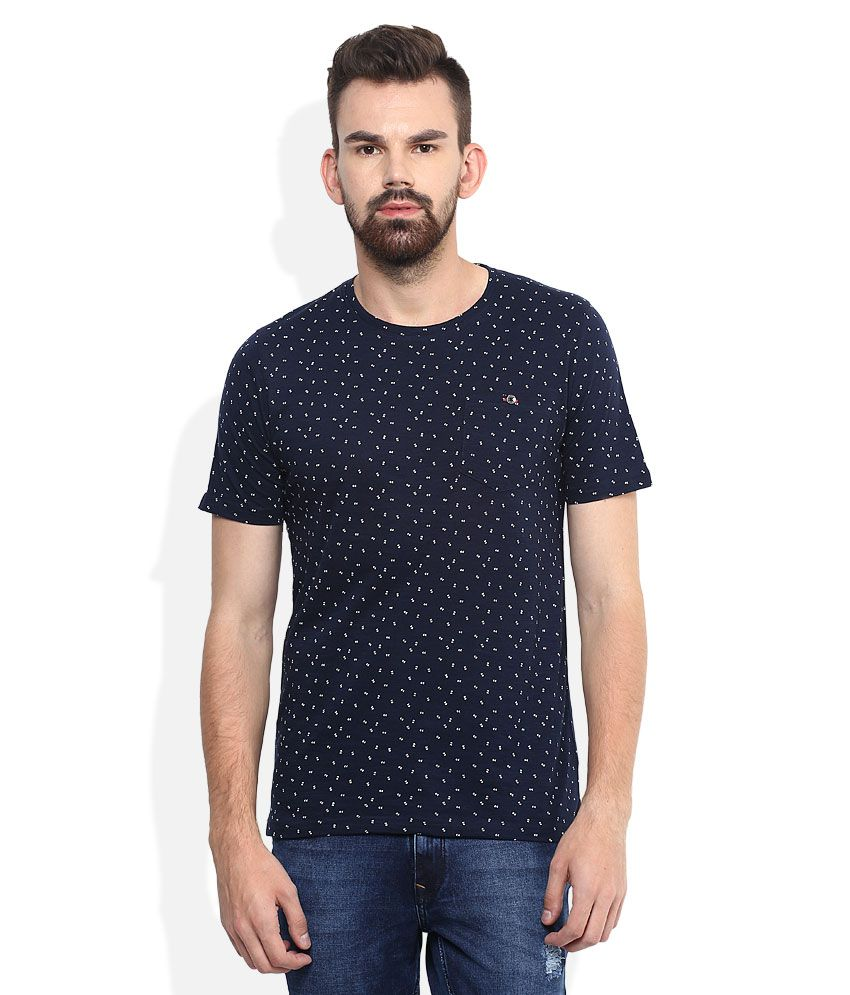 Lee Cooper Navy Blue Printed Regular Fit T-Shirt