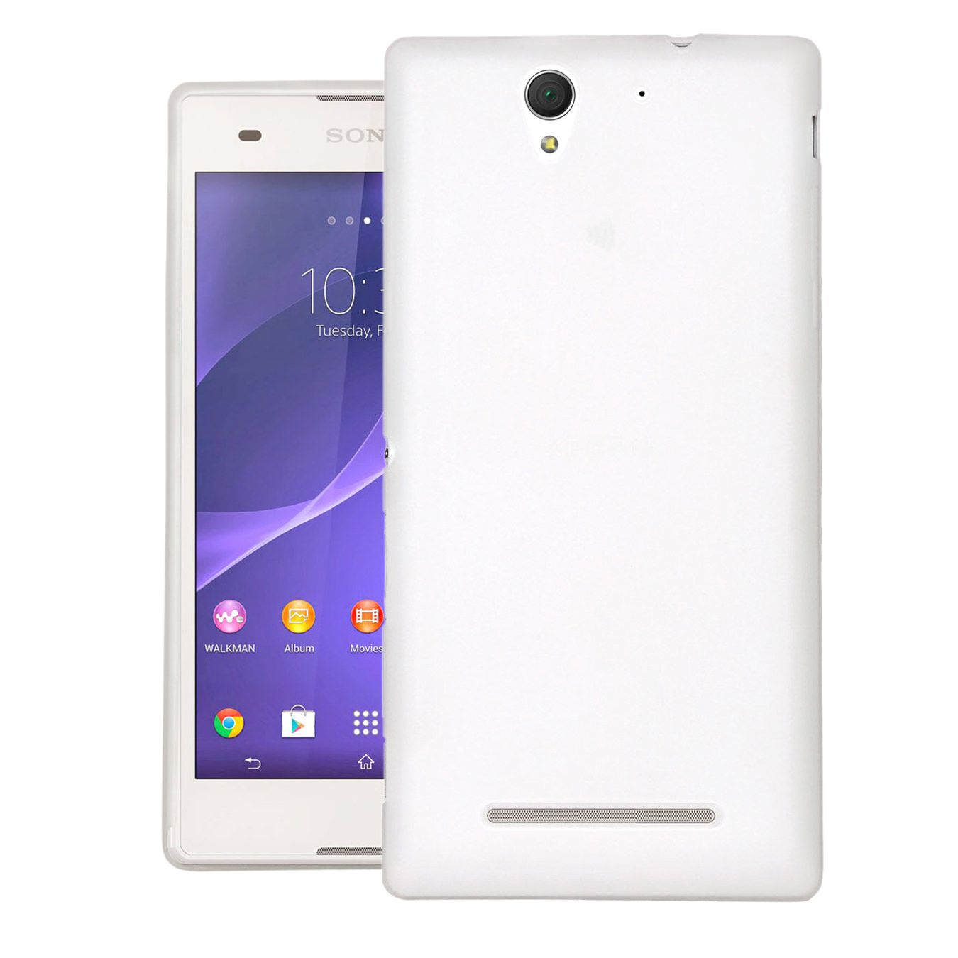 Sony Xperia C3 Case Cover : Cubix 0.3MM Ultra Thin Matte Case Back Cover for Sony Xperia C3 (white)
