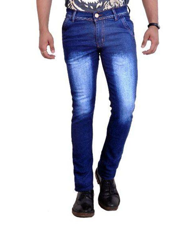 Spy Blue Regular Fit Washed Jeans