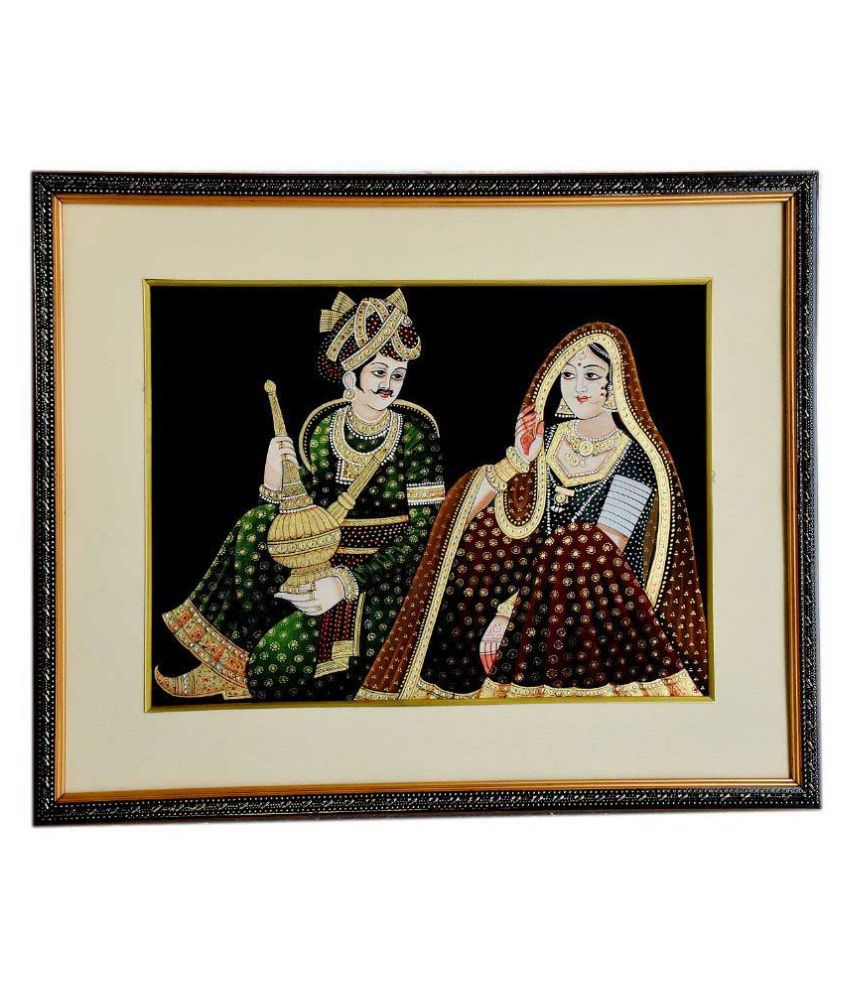 JS Jalwal Couple Paper Hand Paintings With Frame Single Piece