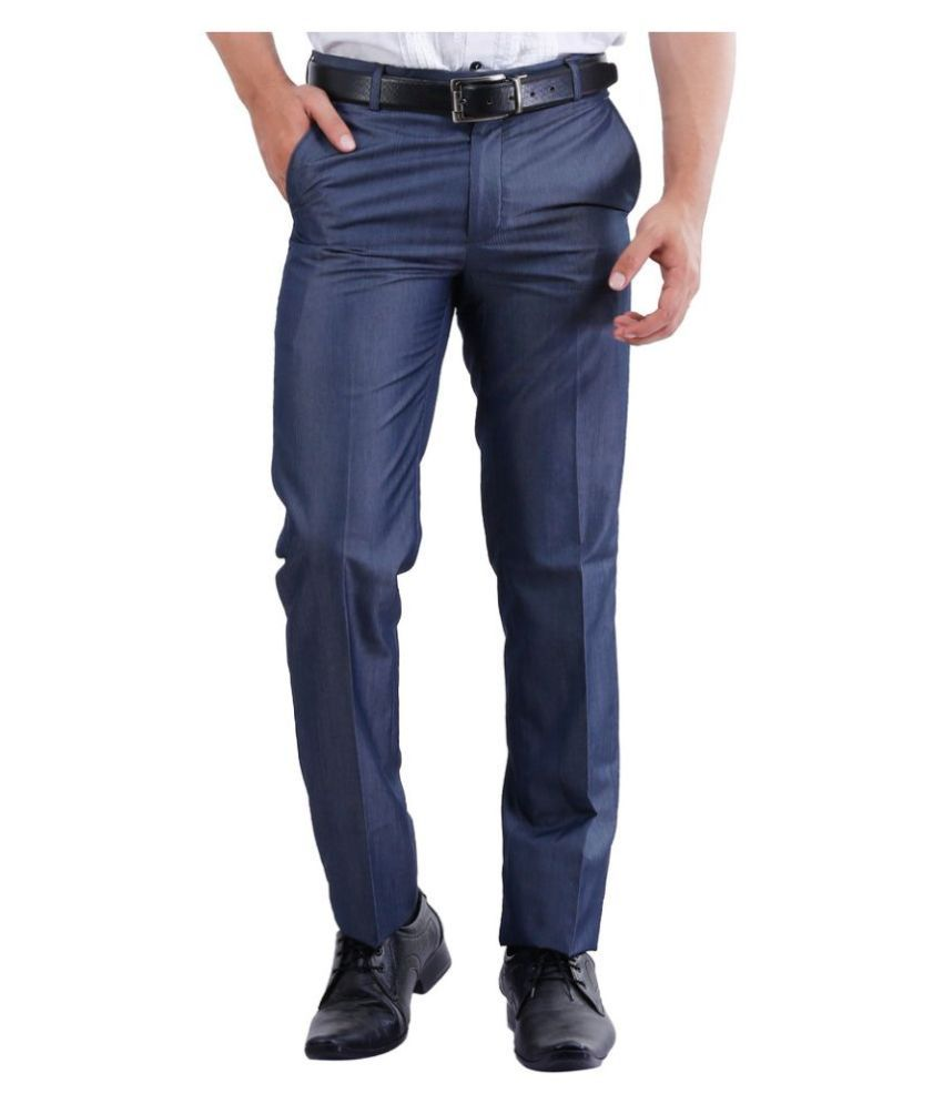 La Mode Blue Slim Fit Flat Trousers
