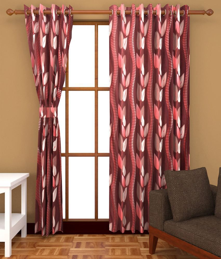 M decor set of 2 long door eyelet curtain abstract multi - A m home decor set ...