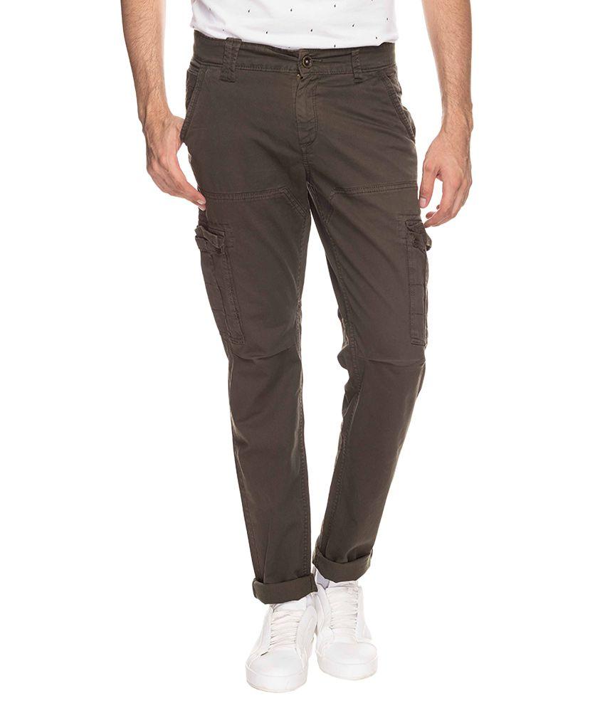 Mufti Green Regular Fit Trousers