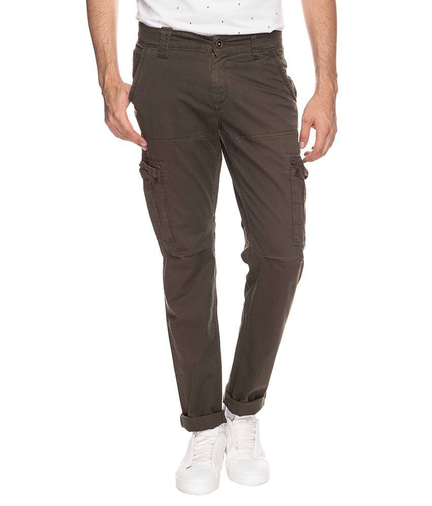 Mufti Green Regular Fit Trousers