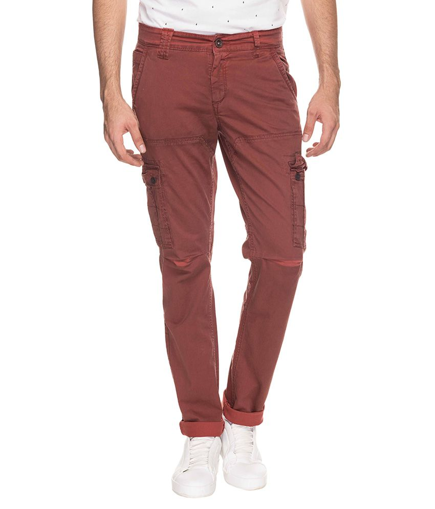 Mufti Maroon Regular Fit Trousers