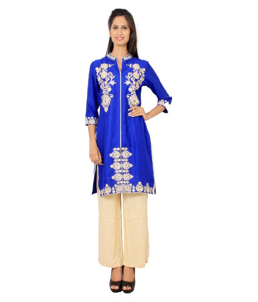Rama Blue Rayon Kurti with Pants