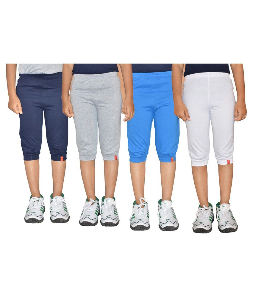 Clever Multicolour Capris for Girls - Pack of 4