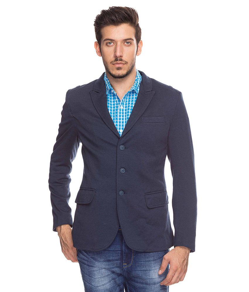 Mufti Navy Lapel Collar Blazer