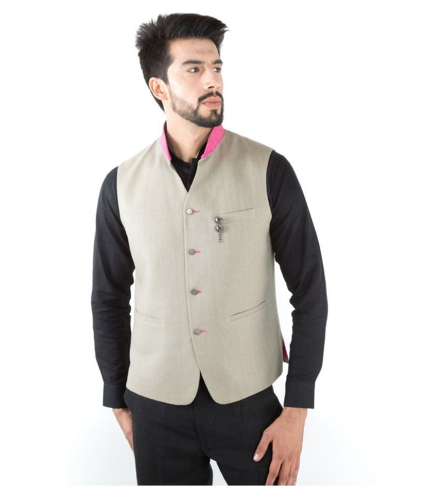 Jahanpanah Off-White Party Waistcoats