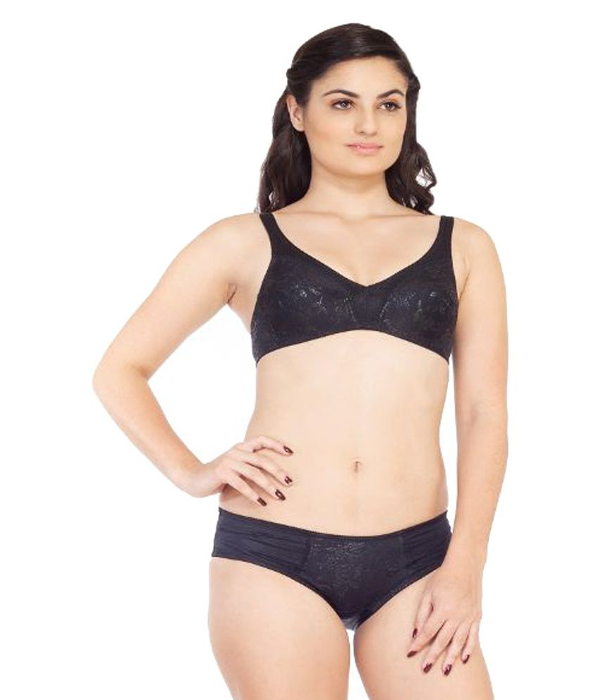 a47209620 Buy Soie Black Satin Bra   Panty Sets Online at Best Prices in India -  Snapdeal