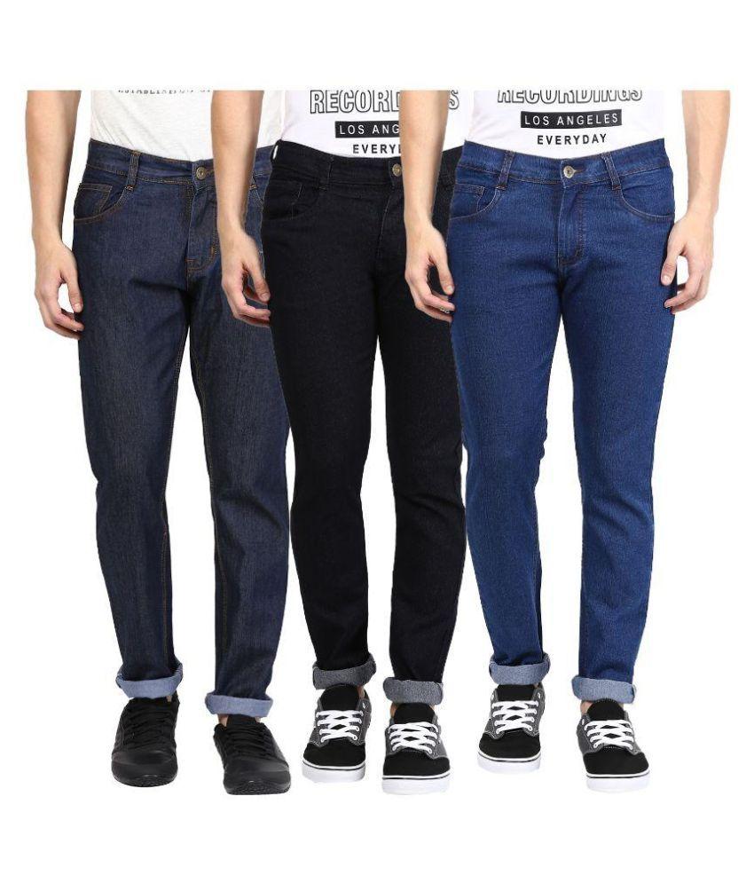 Zea-al Multi Regular Fit Solid Jeans Pack of 3
