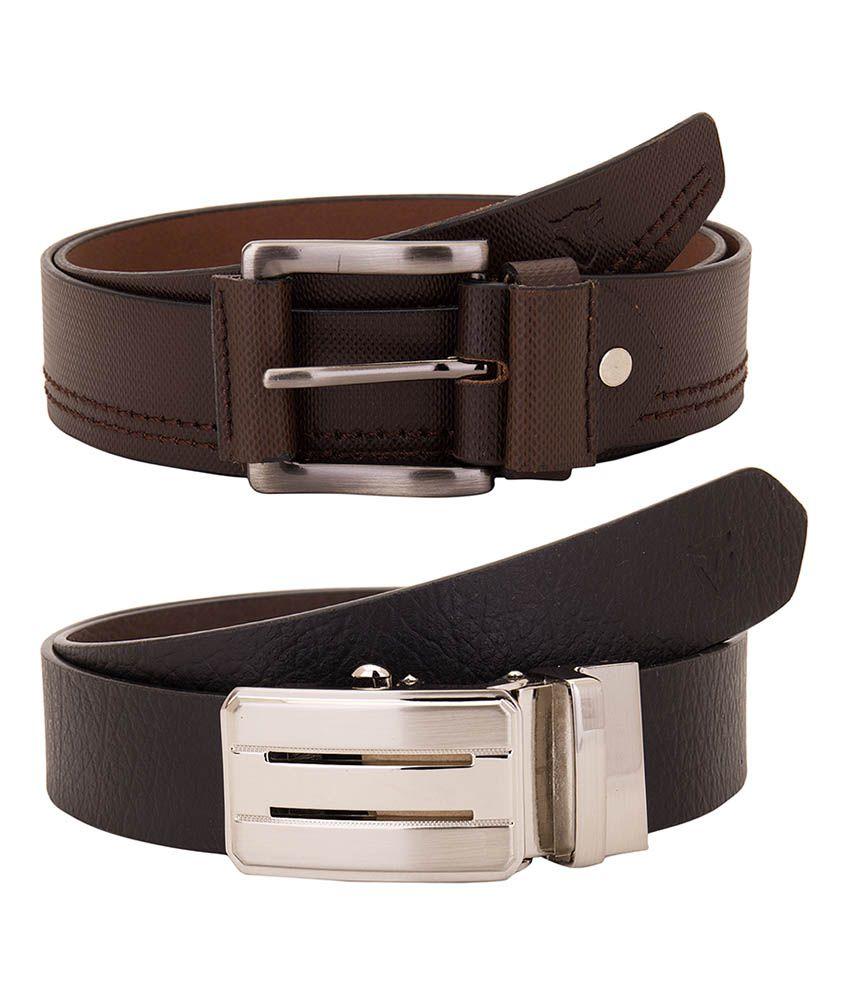 Valbone Multicolour Leather Belt - Pack of 2
