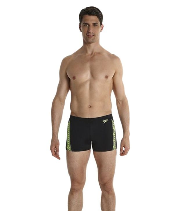 Speedo Black Endurance - Monogram Men Aqua Shorts
