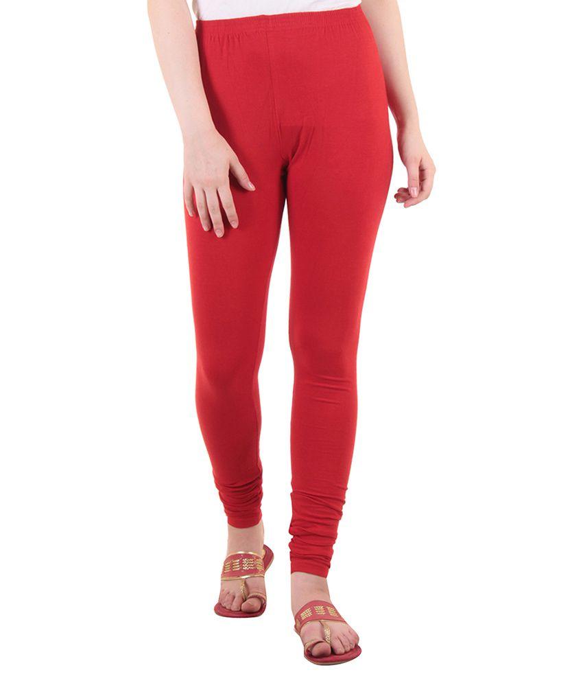 Diaz Red Cotton Lycra Leggings