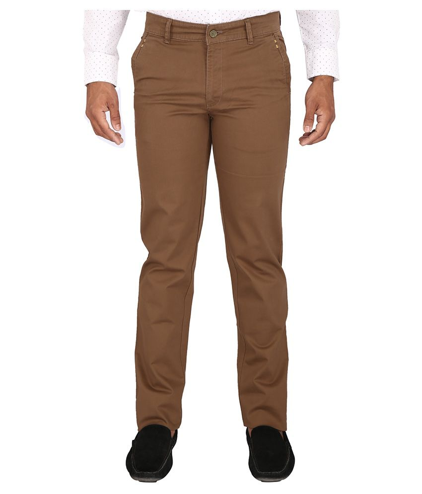 Warewell Brown Regular Fit Flat Trousers