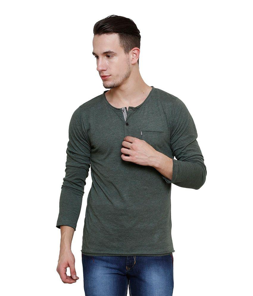 Rigo Green Henley T Shirt