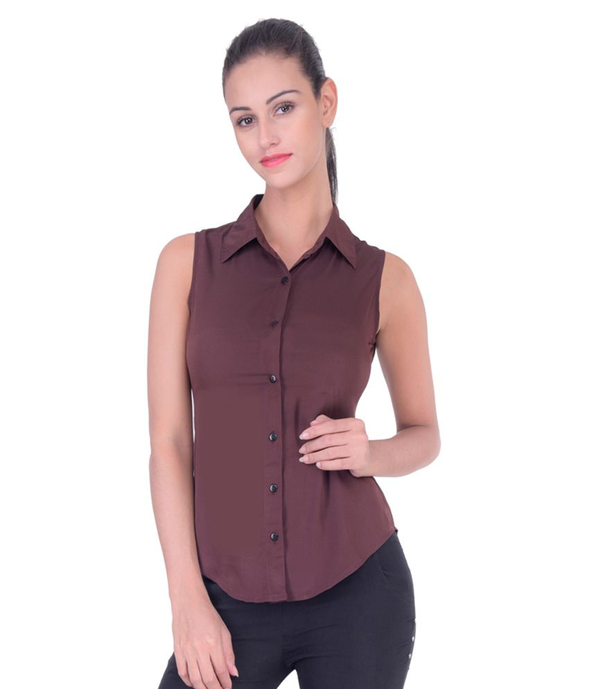 Femninora Brown Polyester Shirts
