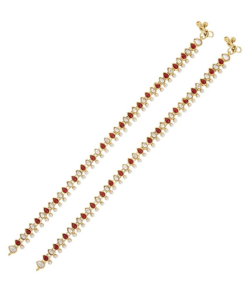 The Jewelbox Pearls Studded Golden Pair Of Anklets