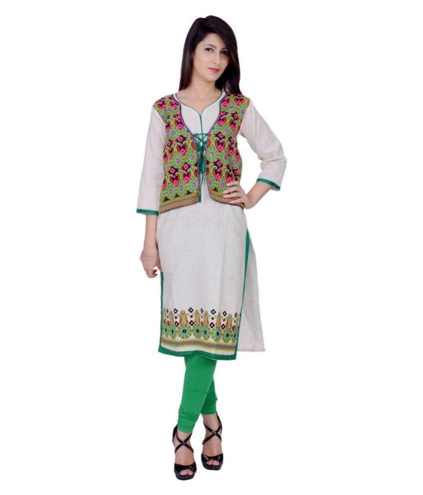 Kurti Jaipur White Cotton with Jacket Kurti