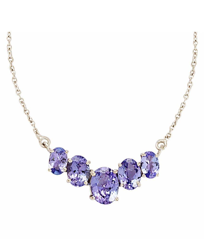 Shine Jewel 92.5 Silver Tanzanite Pendant Necklace Set