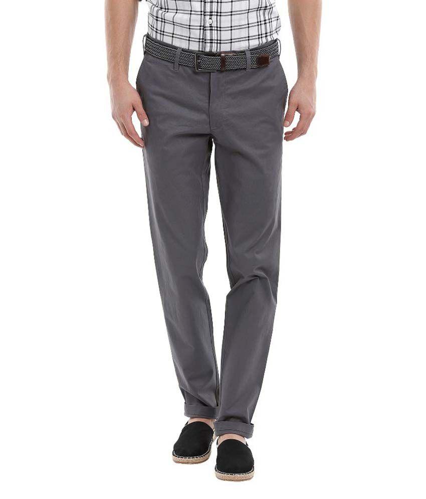 Zobello Grey Slim Fit Flat Trousers