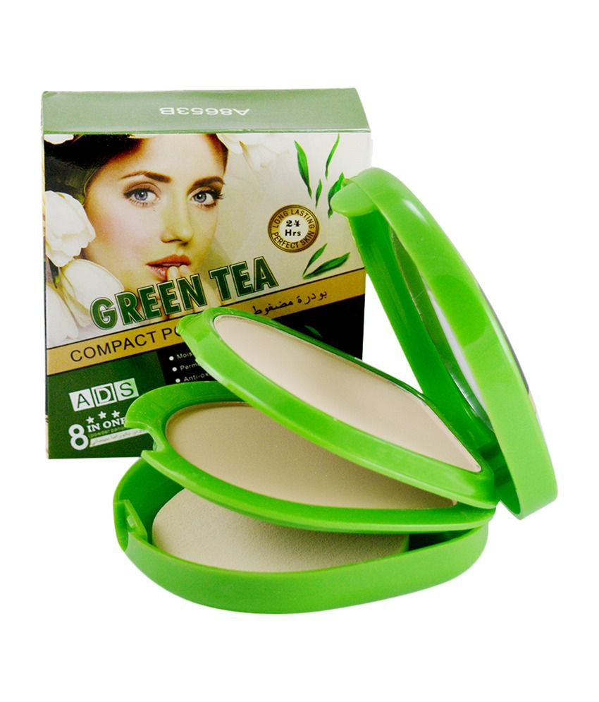 Ads Green Tea Compact Powder with Lipstick and Rubber Band - AOHR
