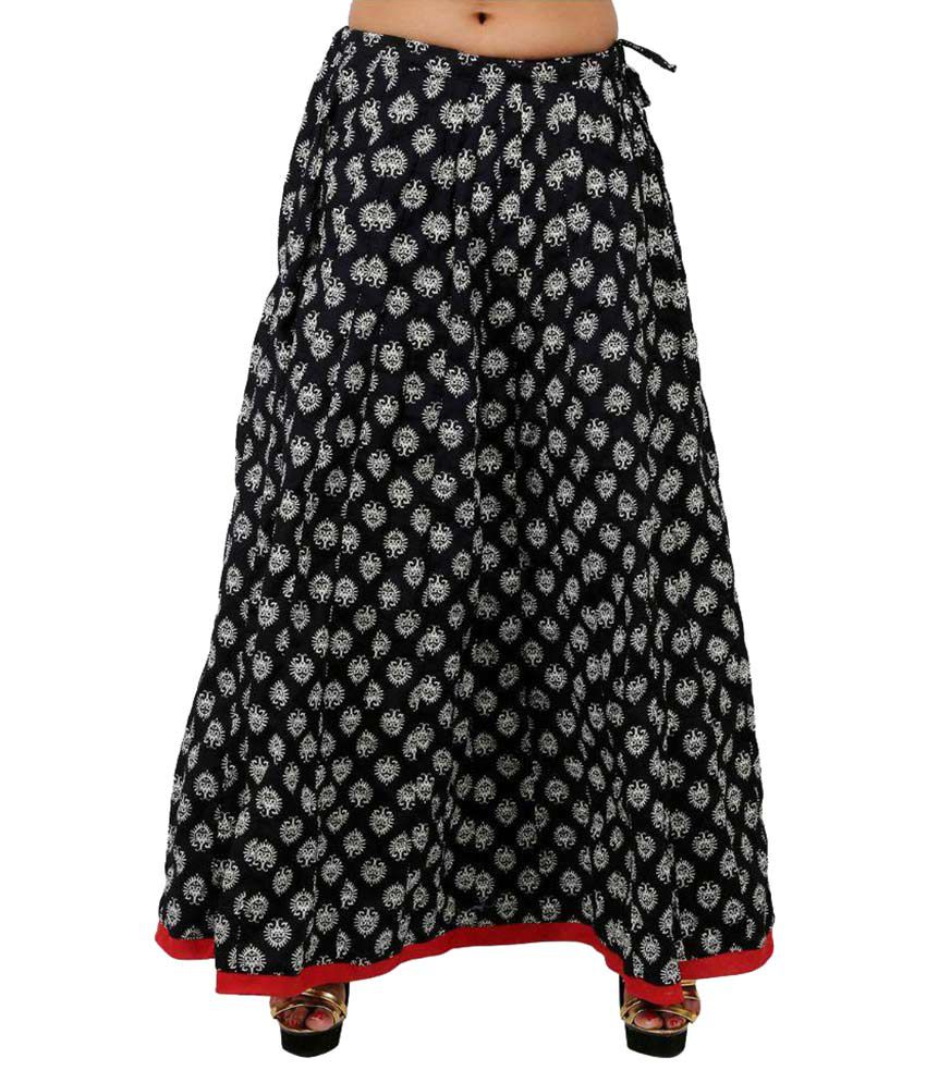Buy Drax Black Cotton A-Line Skirt Online at Best Prices in India ...