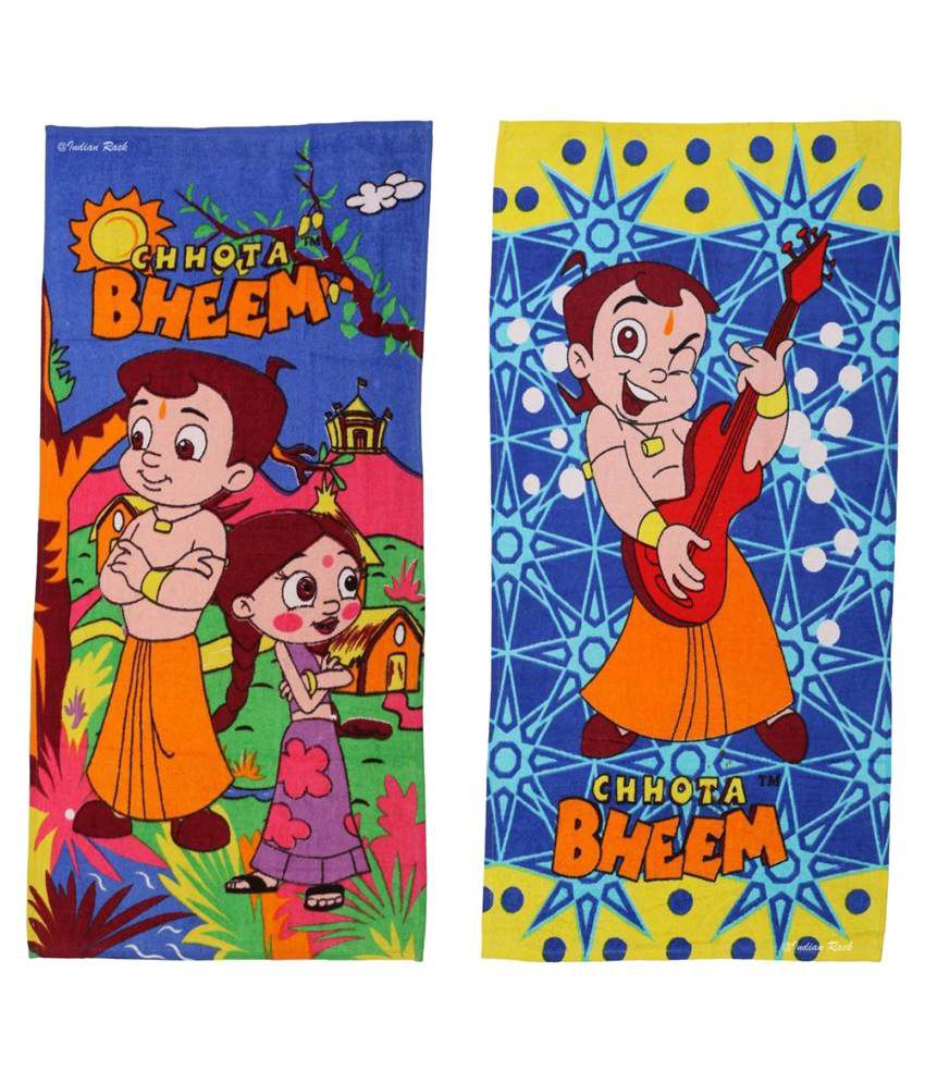 Indian Rack Multi Cotton Bath Towels 2 Chhota Bheem and Friends Kids Bath Towel