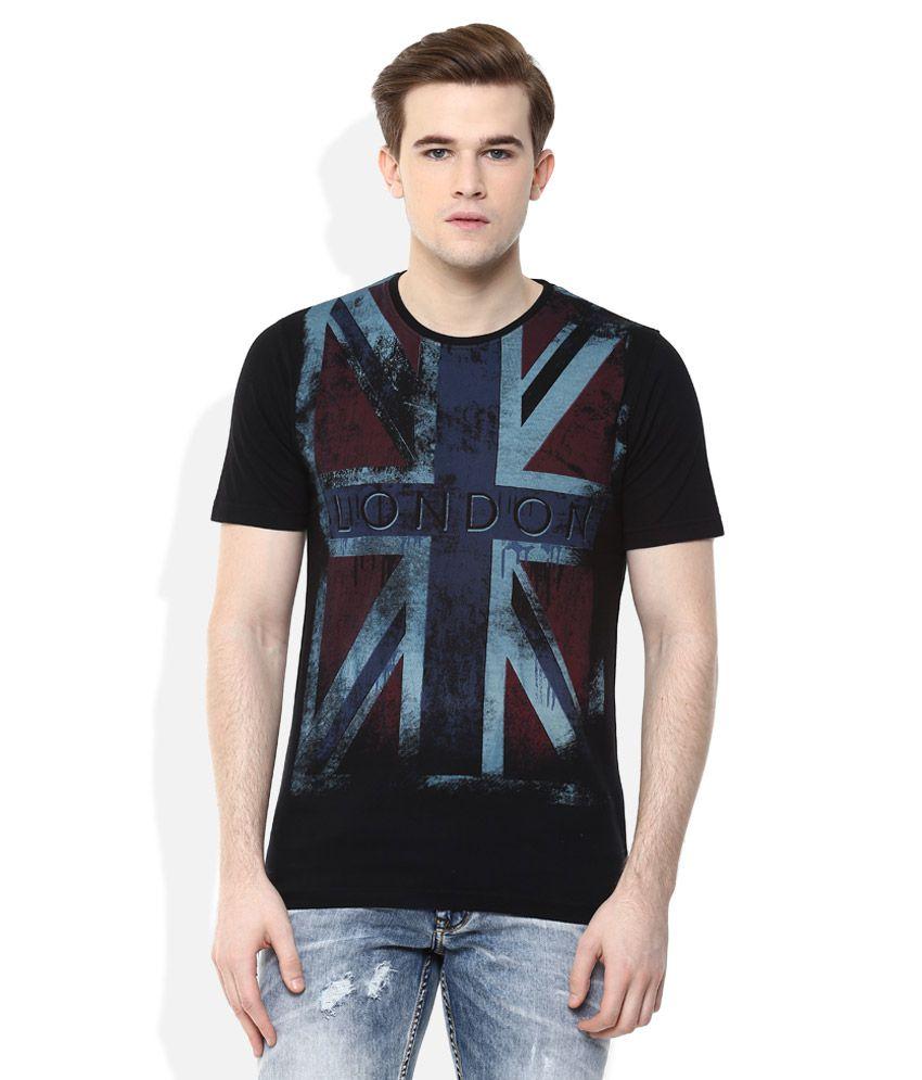 Lee Cooper Black Printed Regular Fit T-Shirt